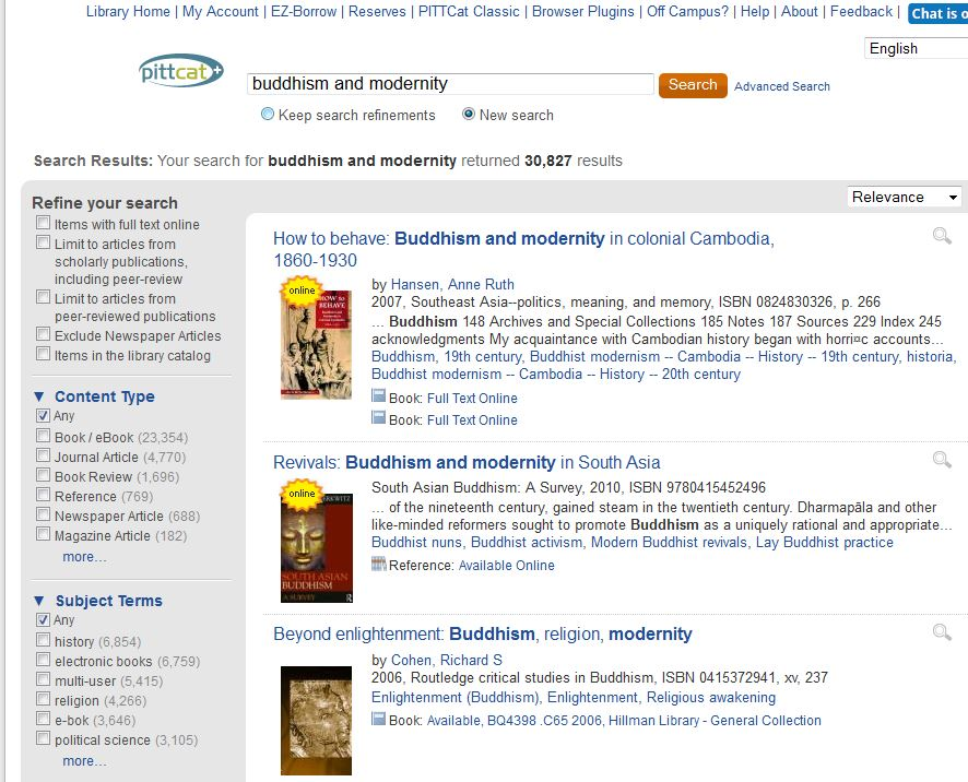 a search in PITTCat Plus for Buddhism and Modernity. Further down in the image is a display of some of the search results. One of the titles is Beyond Enlightenment: Buddhism, Religion, Modernity.
