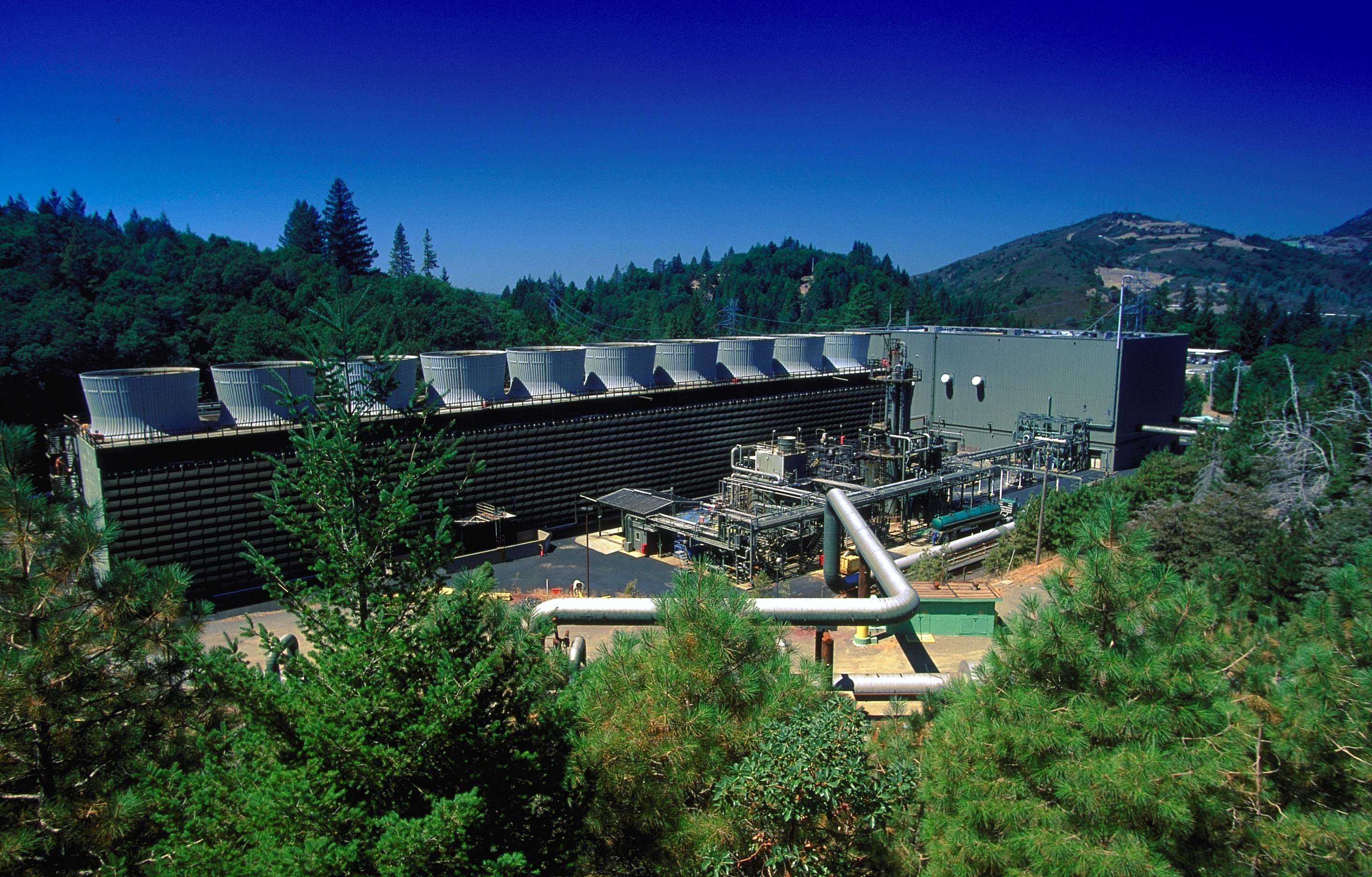 Geothermal power plant at the Geysers near Santa Rosa in northern California, the world's largest electricity -generating geothermal development.