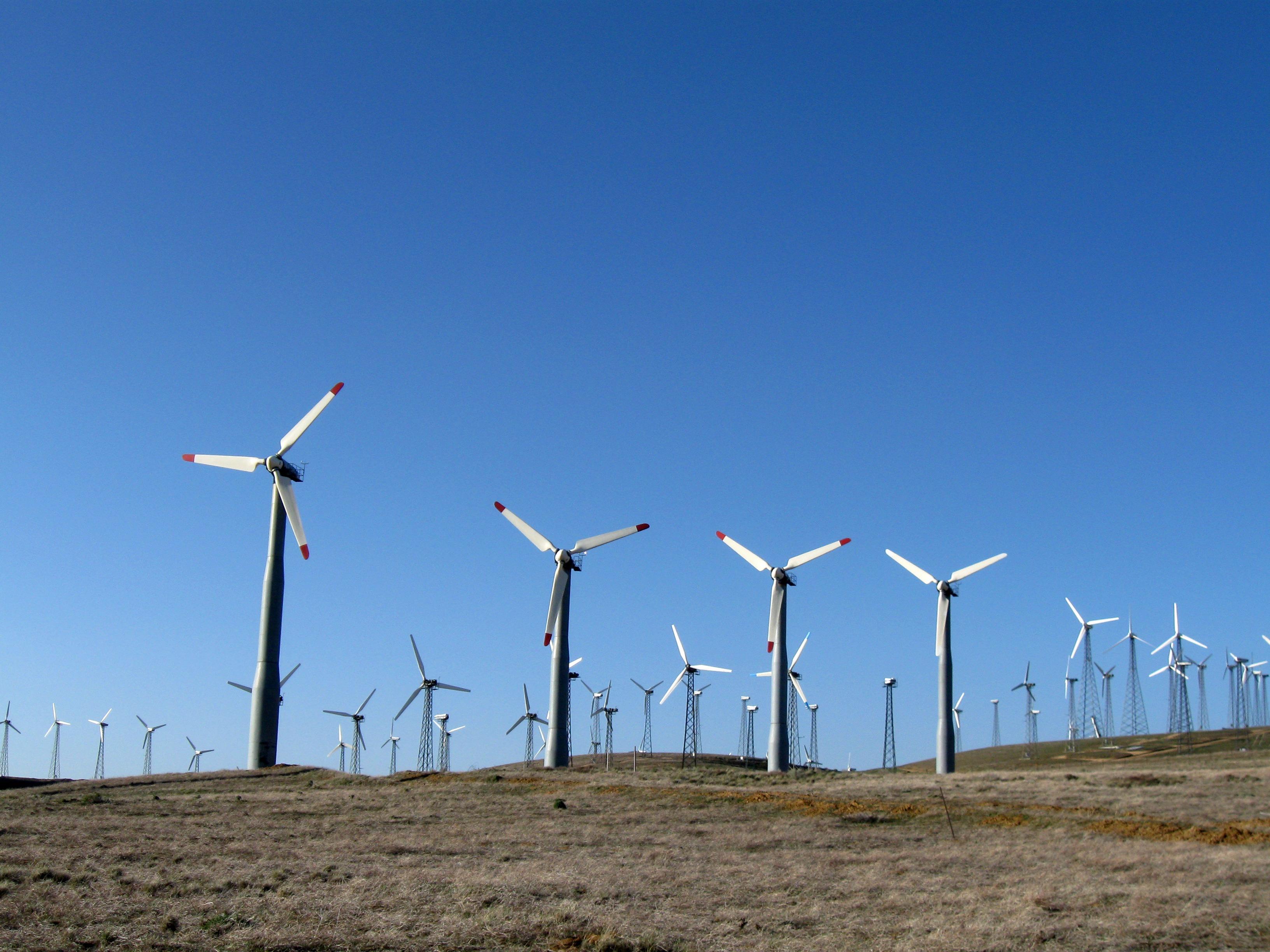 Tehachapi Pass Wind Farm in California. The 705-megawatt farm is composed of about 5,000 wind turbines