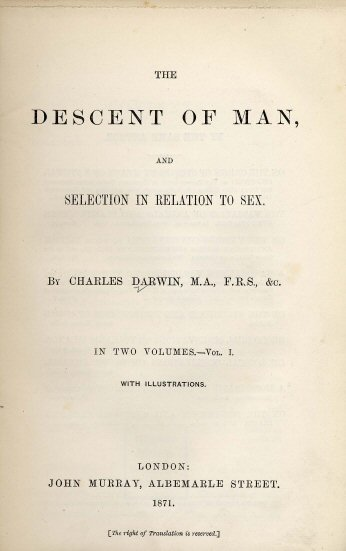 Copy of The Descent of Man, 1871