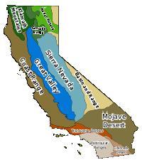 Geomorphological regions of California