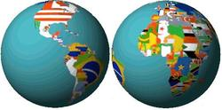 Picture of the globe with flags representing countries