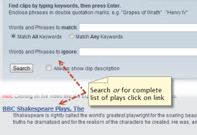 search or select link