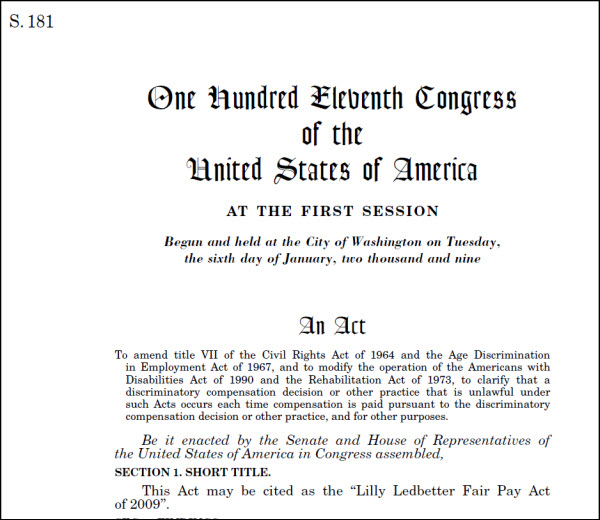 Screenshot of the first page of a bill from the 111th congress
