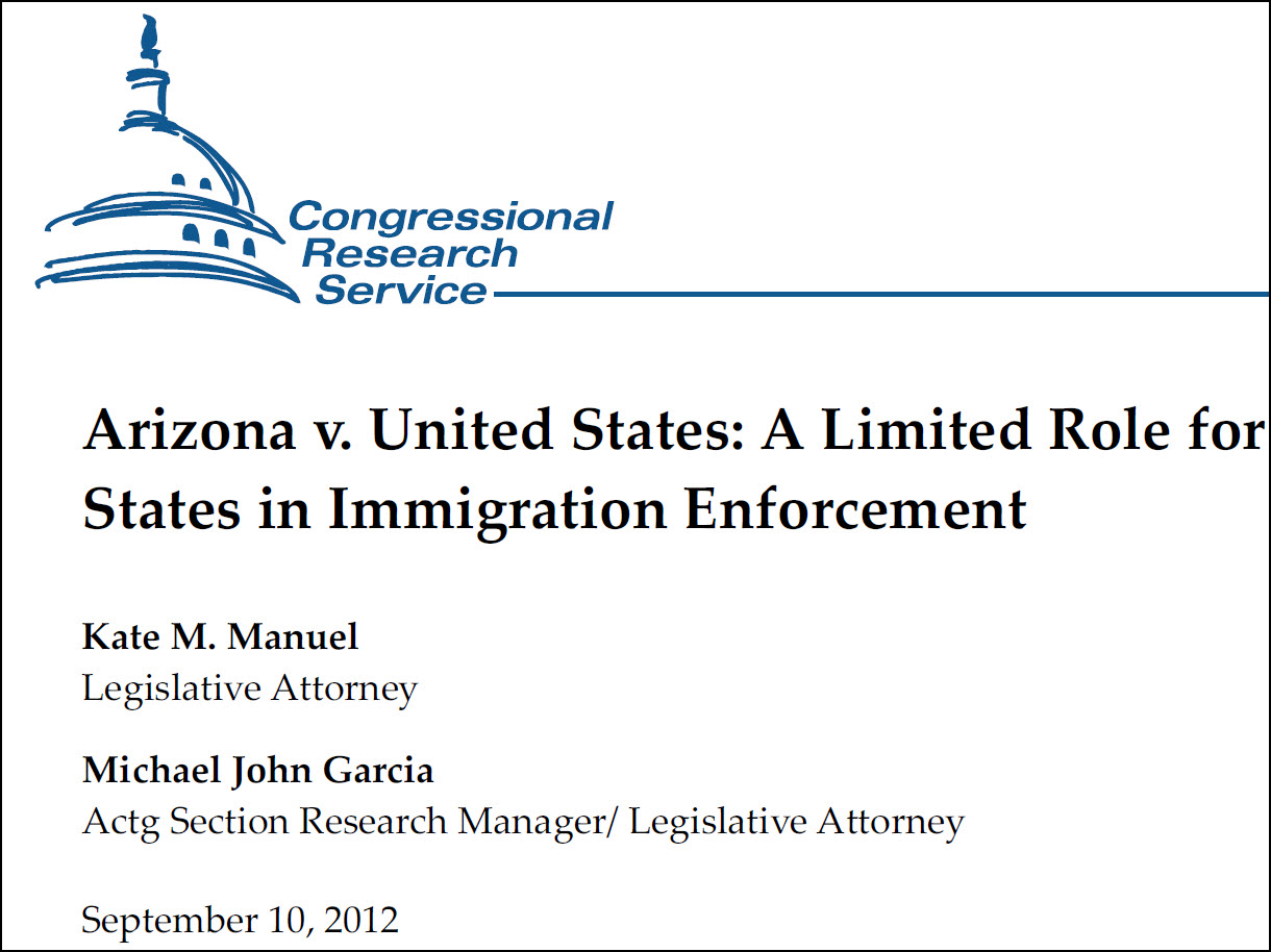 Screenshot of the title page of the crs report: Arizona v. United States: A limited role for states in immigration enforcement