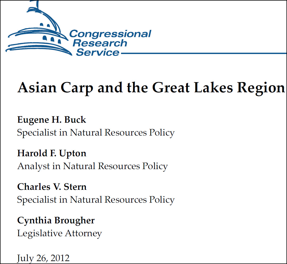 Screenshot of the first page of a crs report: Asian carp and the Great Lakes Region