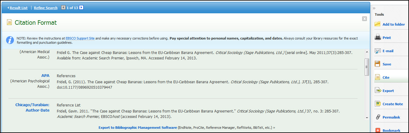 Screenshot of a citation style in Ebscohost