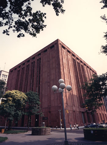 Photograph of NYU Bobst Library from the outside