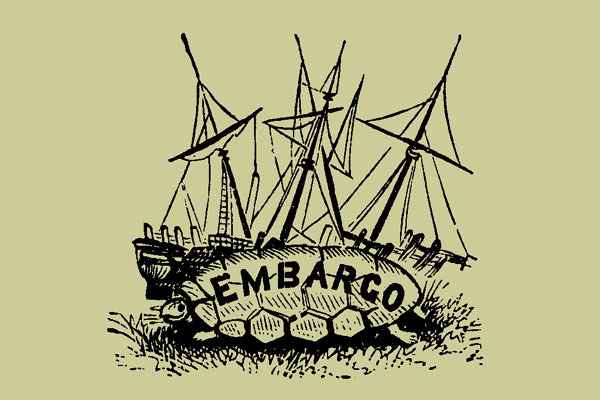"""Ink illustration of a turtle with the word """"EMBARGO"""" on its back, lying in front of a sailboat."""