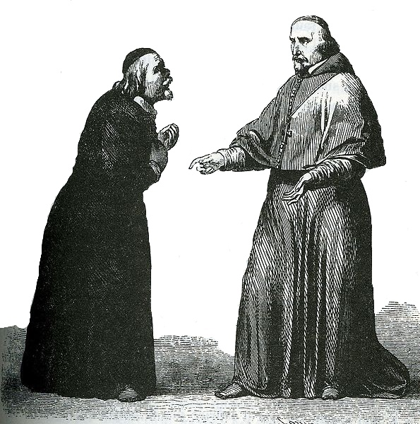 Black and white image of a monk with hands clasped in request toward another monk.