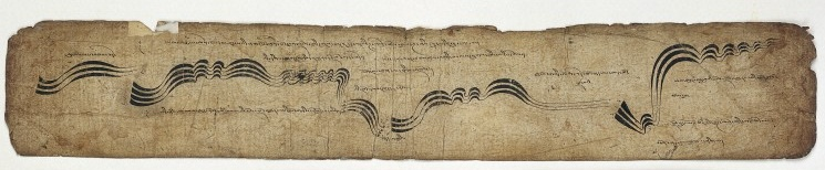 Library scan of a long leaf of Tibetan musical score