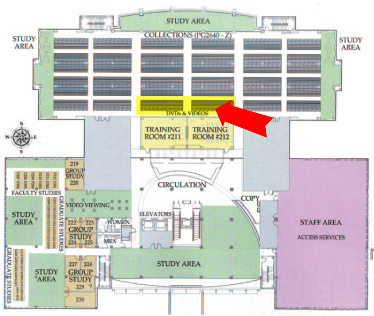 map of library west second floor