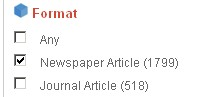 click 'Newspaper Article' option under 'format.'