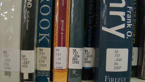 Architecture spines with call numbers
