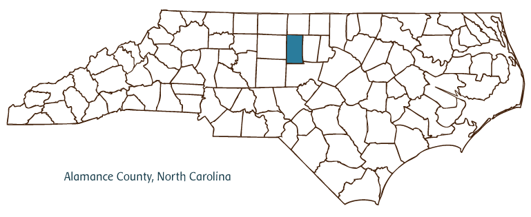 North Carolina map with Alamance County highlighted (image from ncpedia.org)