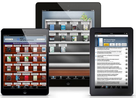 Browzine screenshots of different tablets
