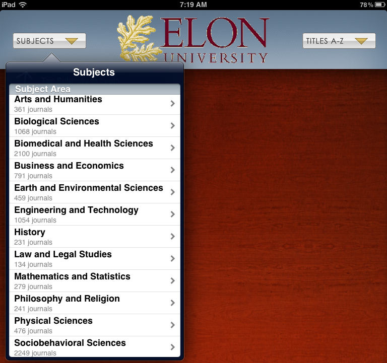 Screenshot of subject areas that are available in Browzine for Elon users