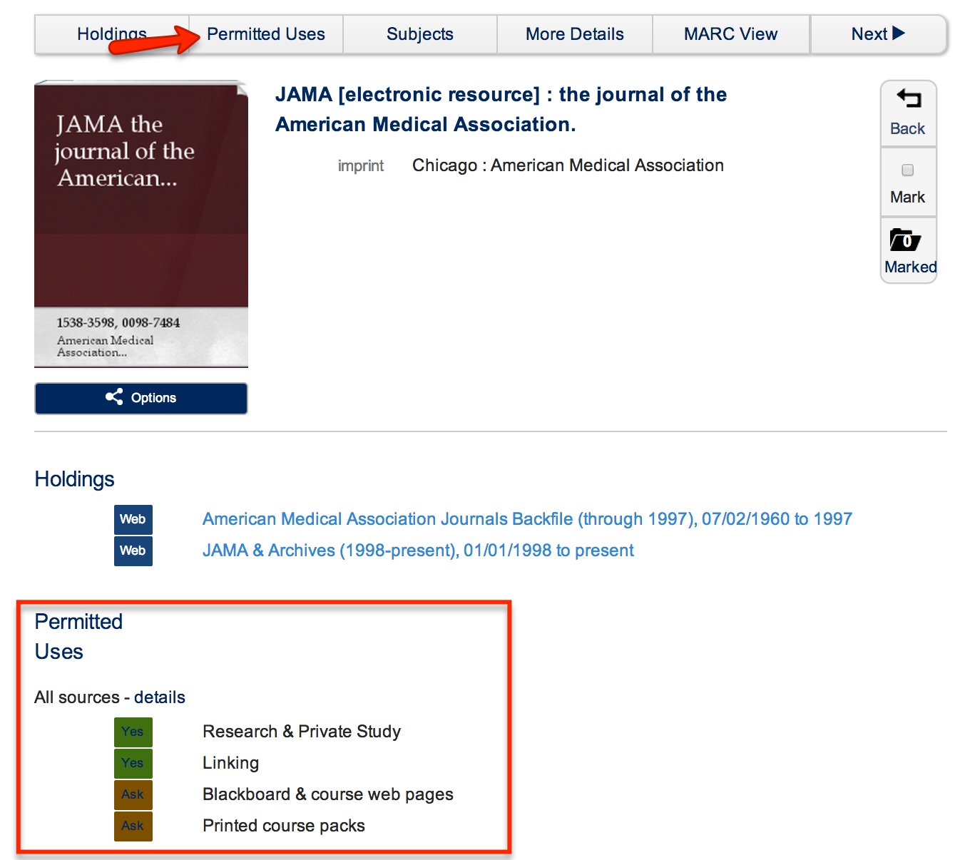 permitted uses in the library catalogue