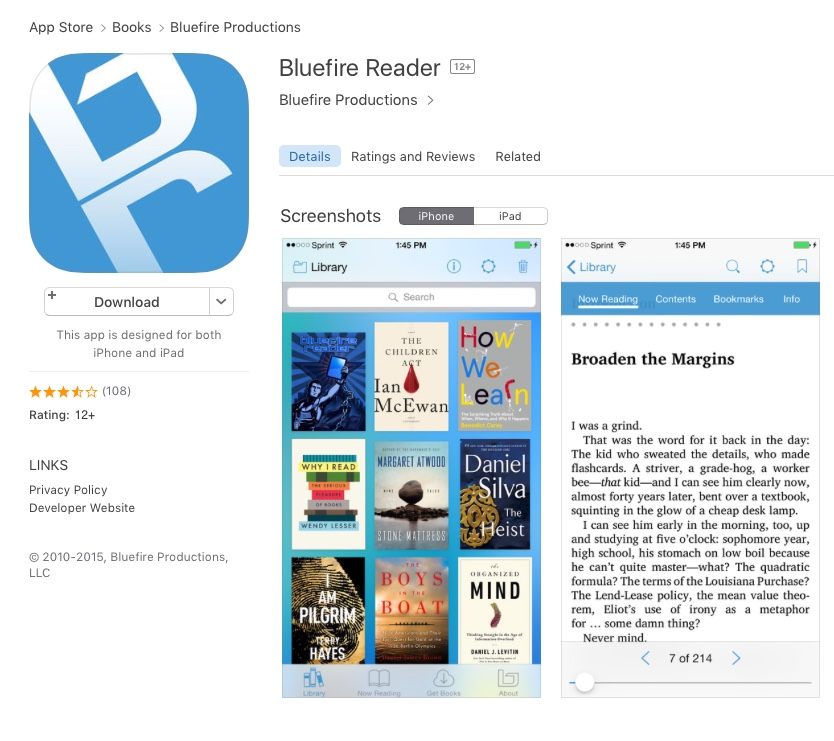 Bluefire Reader app