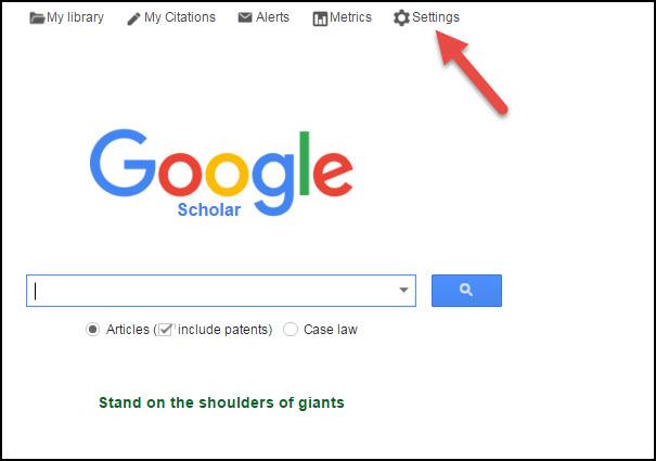 Google Scholar settings image