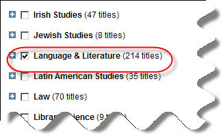 Journal subjects in JSTOR database