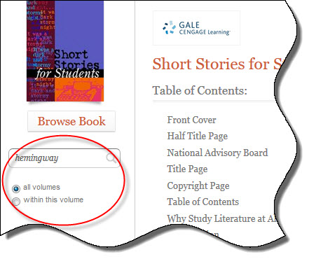 Search box from database Short Stories for Students