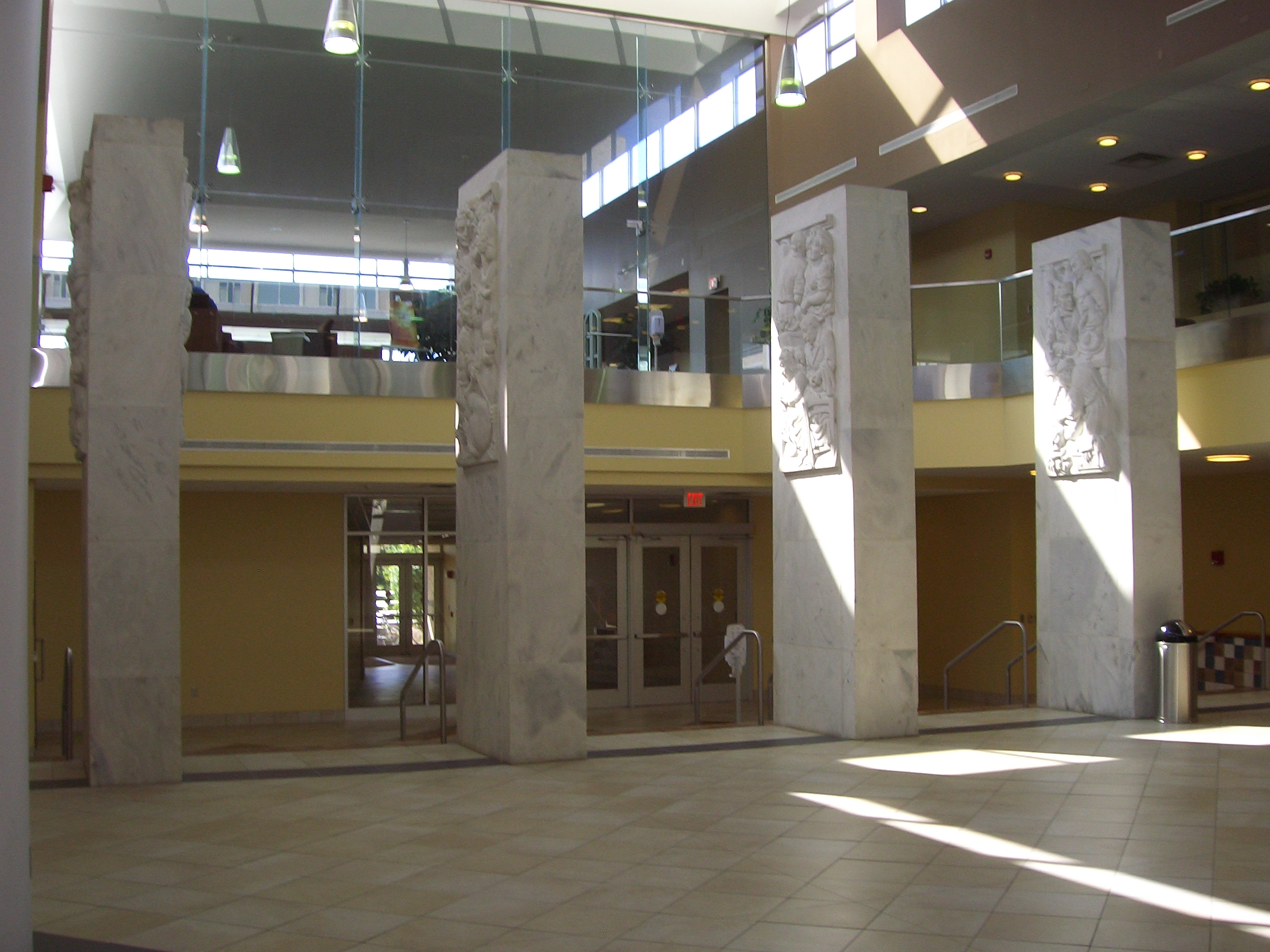 Pylons and Entrance to WVU Health Sciences Library