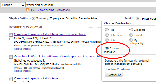 PubMed send to citation manager