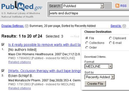 PubMed SendTo dropdown menu