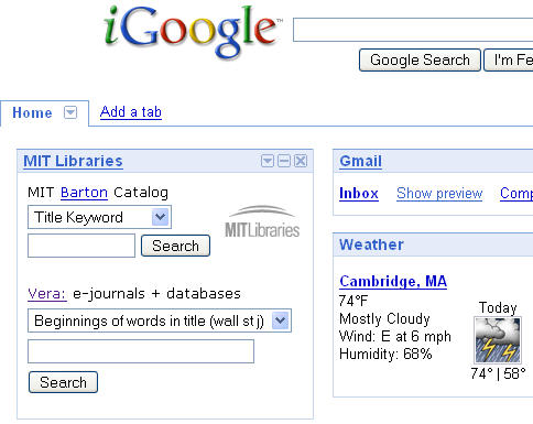 iGoogle screenshot
