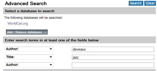 Advanced Search for Deveux and Jazz