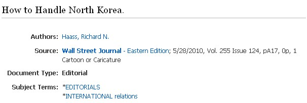 Example of an editorial citation in Academic Search Complete