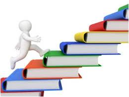 Student ascending staircase of books