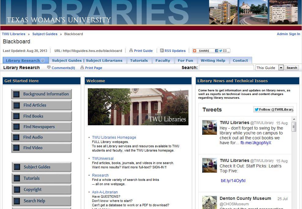 TWU Blackboard webpage image