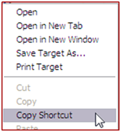 Right Click Copy Shortcut