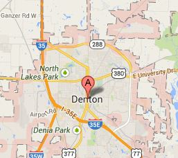 Location Denton TX map
