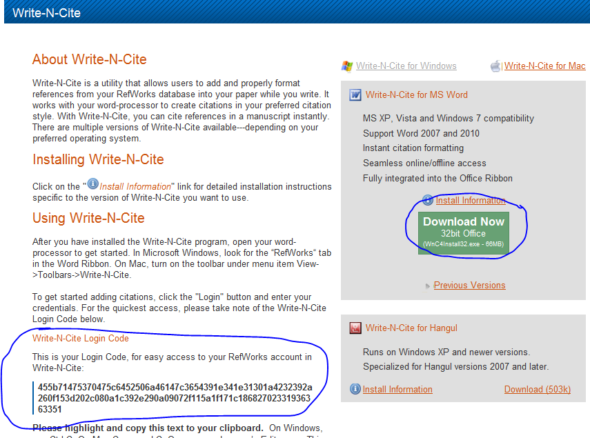 Login - click Tools - click Write-N-Cite