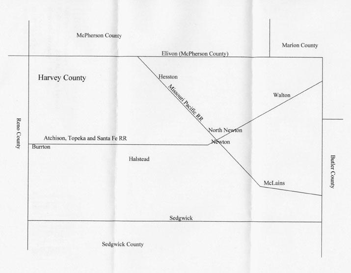 Harvey County settlement map