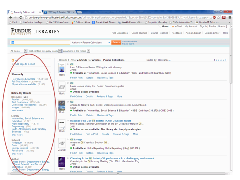 Screenshot of Library All Search with highlighted facets column