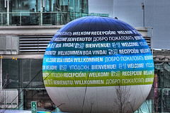 "An image from the Vancouver Olympics, showing the word ""Welcome"" in many languages."