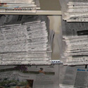 A photo of the newspapers on the shelf in the LRC Lab