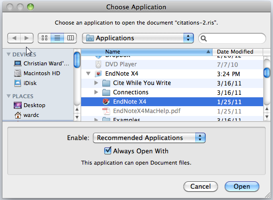 select EndNote icon
