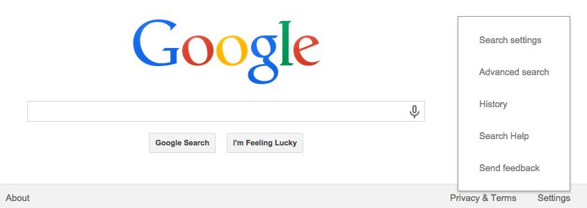 screenshot of Google's homepage