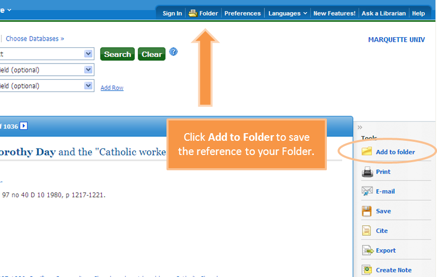 Illustration of EBSCO screen showing where to add a folder in the top navigation bar
