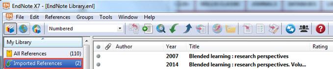 Screen shot EndNote imported references folder