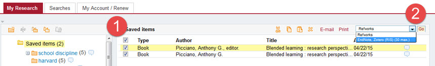 HOLLIS+ My Research screen shot with 1. records selected and 2. EndNote chosen from dropdown menu
