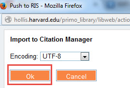 Screen shot of import to citation manager popup