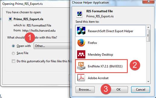 Screen shot of RIS export screen