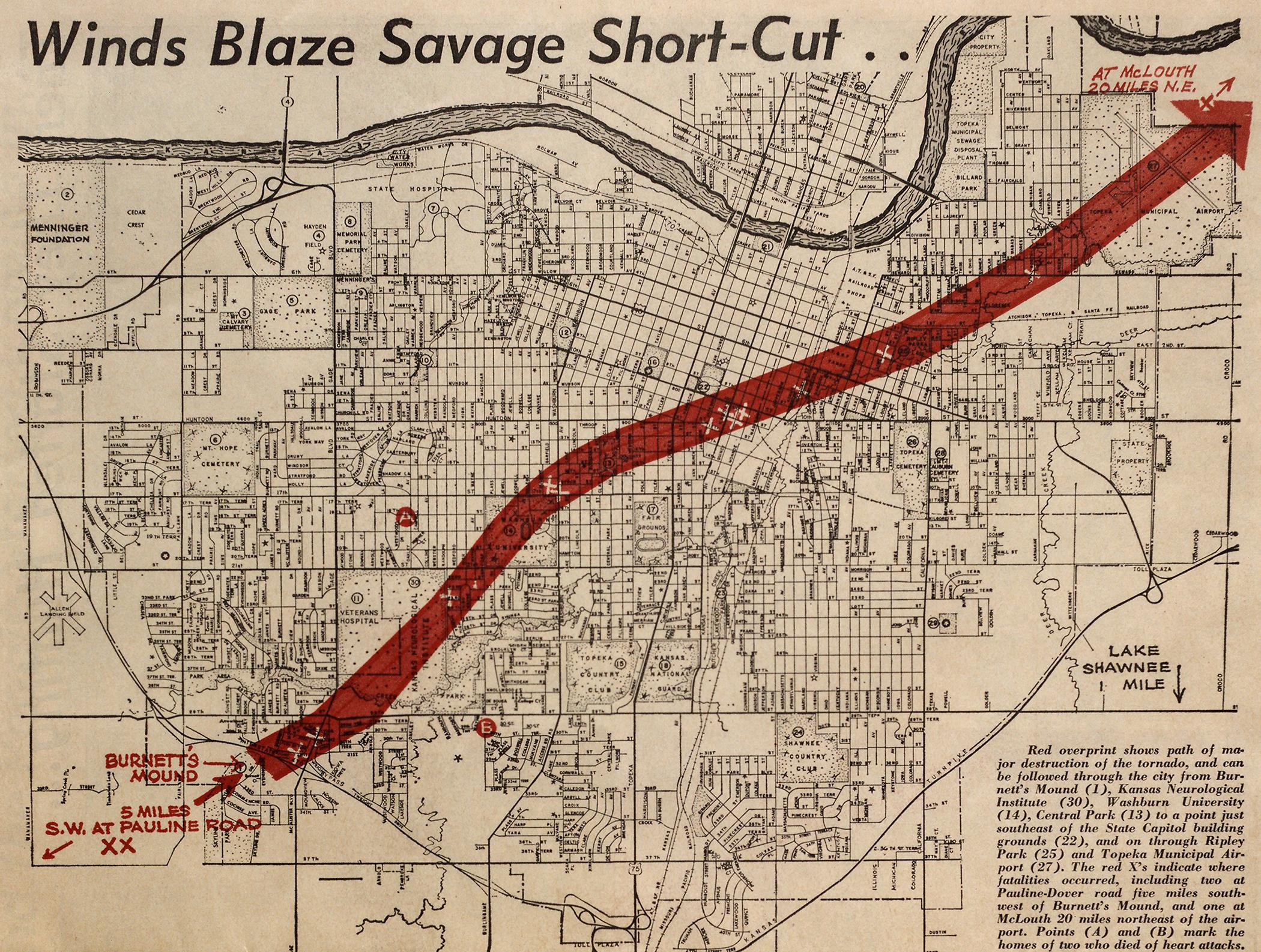 map of 1966 tornado path through Topeka