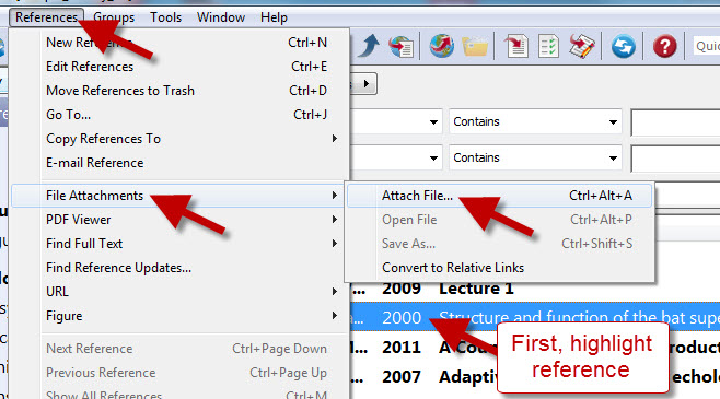 Location of Attach File from References menu